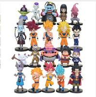 süper saiyan vejetaryen oyuncakları toptan satış-20 adet / takım Dragon Ball Z Süper Saiyan Son Goku Vegeta Buu Freeza Beerus Buu PVC Eylem Modeli Oyuncak Telefon Aksesuarları