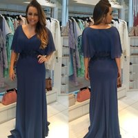 Wholesale Online Suit - Navy Blue Mother Of the Bride Dresses Chiffon Long V Neck Poet Sleeves Sheath Floor Length Wedding Party Mother's Dresses Custom Made Online