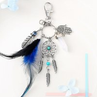 Wholesale dreamcatcher keychains - Natural Emerald Dreamcatcher Keyring Fashion Boho Jewelry Feather Keychain For Women Bag Car Fashion Accessorice Creative Gifts G266Q