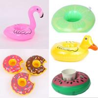 estera de playa inflable al por mayor-Summer Beach Inflatable Cup Holder Flamingo Sandía Yellow Duck Donut Fun Drink Coaster Natación Flotadores Mat 2 7cs WW
