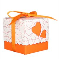 Wholesale orange wedding favor boxes - 30pcs Love Heart Small Laser Cut Gift Candy Boxes Wedding Party Favor Candy Bags With Ribbon Decor, Orange