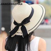 широкие черные черные шляпы оптовых-Солнце Шляпа Большой Черный Лук Летние Шляпы Для Женщин Складной Соломы Пляж Панама Шляпа Козырек Широкие Поля Femme Женский 2018 Новый