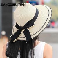 geniş ağızlı siyah şapka kadınlar toptan satış-Güneş Şapka Büyük Siyah Yay Yaz Şapka Kadınlar Için Katlanabilir Saman Plaj Panama Şapka Visor Geniş Ağız Femme Kadın 2018 Yeni