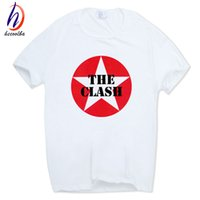 2017 Männer Drucken The Clash London Calling Mode T-shirt Oansatz Kurzen Ärmeln Sommer Casual Rock Band T-shirt HCP762