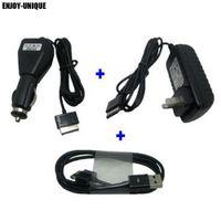 кабель зарядного устройства трансформатора asus оптовых-USB Date sync cable +Car charger +AC US adaptor power for Asus eee Pad Transformer TF300 TF300T TF700 TF700T TF201 TF101 SL101