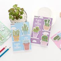 pegatinas de marcadores al por mayor-4 unids amigo plantas nota adhesiva lindo cactus bloc de notas libro marcador índice calcomanía planificador papelería oficina material escolar A6942