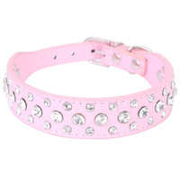 Wholesale Wholesale Wide Leather Dog Collar - Wide Bling Rhinestone Diamond Cat Dog Collars PU Leather Pet Strap for Dogs Red Black Pink 3 Colors