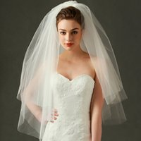 Wholesale Multi Layer Veils - In Stock Four Layer Cut Edge Wedding Veil 2018 Cheap Free Shipping Ivory Tulle Bridal Veil With 3D Flowers MW001