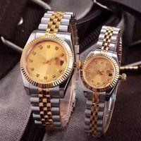kadın saatleri toptan satış-SıCAK LÜKS İZLE Çiftler Stil Klasik Otomatik Hareketi Mekanik Moda Erkekler Erkek Kadın Bayan İzle Saatler Kol Saati