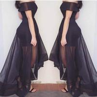 ingrosso tulle asimmetrico nero vestito-2018 Off-spalla nero A-Line abiti da sera manica corta asimmetrica affascinante ragazze su misura abiti da festa abiti da ballo