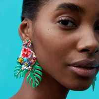 Wholesale gold plated leaf earrings - Sequined Flower drop Earrings for women 2018 Luxury boho personality Leaf beads Dangle earrings Vintage geometric Jewelry wholesale 7color