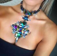 Wholesale Boho Statement Necklace - Fashion Jewelry Women Flower Necklace Pendant Crystal Collar Bib Choker Boho Collier Femme Maxi Statement Accessories