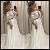 Wholesale Dress Trendy Tops - Trendy Two Pieces Prom Dresses 2018 Off Shoulder 3 4 Sleeves Long Evening Party Gowns Lace Top A Line Dress