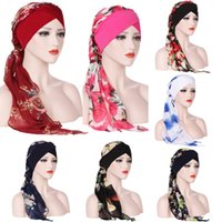 Wholesale muslim scarf resale online - India Muslim Floral Chiffon Head Scarf Wrap Colors Women Stretch Turban Cap Hats Long Tailed Bandanas Hair Accessories OOA5522