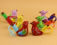 kuşlar el yapımı toptan satış-Quevinal 240 adet / grup Vintage Stil El Yapımı Seramik Su Kuş Düdük Kil Şarkı Chirps Kuşlar Noel Partisi Hediye Ücretsiz Kargo