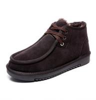 tubo del cordón de los hombres al por mayor-Botas de nieve australianas para hombre nuevas botas de nieve con cordones de tubo bajo de invierno para hombre zapatos planos de lana de moda
