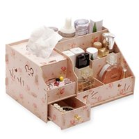 Wholesale wooden jewelry boxes drawers - wholesale DIY Wooden Storage Box Makeup Organizer Jewelry Container Wood Drawer Organizer Cosmetic Storage Organizer Box Casket