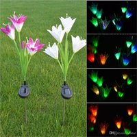 ingrosso fiori di giardino solare potenza-LED Solar Garden Lights LED Solar Power Flower Garden Puntata luce cambia colore Outdoor Garden Path Yard Decoration 4 LED Flower Light
