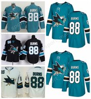 Wholesale Burn Free - 2018 AD 88 Brent Burns Ice Hockey Jerseys Green White Black San Jose Sharks Brent Burns Jersey Men All Stitched Quality Free Shipping
