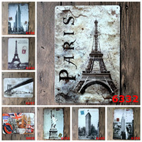 Wholesale American Poster - Modern 20*30cm Iron Paintings Famous European And American Attractions Tin Posters Paris Eiffel Tower London Bridge Tin Sign New 3 99ljF B