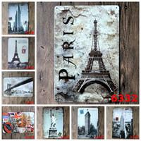 berühmte moderne kunst gemälde großhandel-Moderne 20 * 30cm Eisenmalereien Berühmte europäische und amerikanische Sehenswürdigkeiten Zinn Poster Paris Eiffelturm London Bridge Blechschild New 3 99ljF B