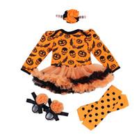 bebek halloween tozluk toptan satış-Cadılar bayramı Kıyafetler Bebek Bebek Kız Kabak Romper Bodysuit + Pantolon Tayt Bandı Ayakkabı 4 Parça Yenidoğan Giysileri Set