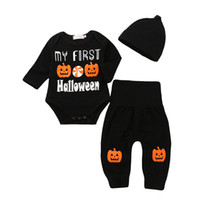 Halloween Baby outfits infant boys girls pumpkin print romper+pants with hat  3pcs set 2018 Autumn fashion kids Clothing Sets C5112 08407e8c01fe