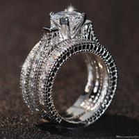 cadre en or blanc pour diamant achat en gros de-Livraison gratuite Vente chaude Engagement Topaze Diamant Simulé Diamonique 14KT Or Blanc Rempli 3 Mariage femmes Bague Ensembles cadeau Taille 5-11