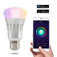 dimmbare led-glühbirne dimmer großhandel-Neue E27 7W WiFi LED Glühbirne Dimmer Smart Beleuchtung Farbwechsel Dimmable Wifi Fernbedienung Glühbirne Funktioniert mit Alexa