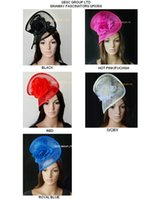 Wholesale ivory silk flowers wholesale - HOT sinamay fascinator dress wedding sinamay hat in SPECIAL shape with silk flower,5 colors,white black,ivory,pink,black red,grey