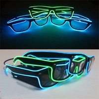 Wholesale led sunglasses - Luminous EL Glasses Man Woman Adult Toys LED Light Up Eyeglass Glowing In The Dark Costume Party DJ Bright Sunglasses Fashion fy bb