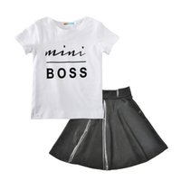 Wholesale baby clothing resale online - 2 Styles Baby girls outfits summer kids Boss letter T shirt PU skirt set cotton Boutique children Clothing Sets H001