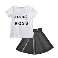 bebek tişört setleri toptan satış-Bebek kız kıyafetleri 2018 yaz çocuklar Boss mektup T-shirt + PU etek 2 adet / takım pamuk Butik çocuk Giyim Setleri H001