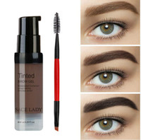 Wholesale brow set gel - Color Salon Eyebrow Pomade 6ml Makeup Tint Brush Kit Brown Henna Eye Brow Gel Cream Make Up Paint Pen Set Enhancer Wax Cosmetic