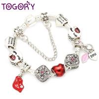 сексуальные обаяние женщины оптовых-TOGORY Sexy Lips  Charm Bracelets & Bangle Red Crystal I LOVE YOU Pendant Fine Bracelets For Women Pulseria DIY Jewelry