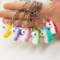 резиновое кольцо для животных оптовых-Cartoon Soft PVC Unicorn Keychain Rubber 3D Anime Cute Animal Horse Key Chain Key Ring Kids Toy Pendant Holder Trinket Gift