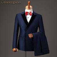 hochzeitskleid kostüm für männer großhandel-2 Stücke Hochzeit Männer Anzug 2018 New Fashion Party Kleid Slim Fit Kostüm Homme Herrenanzug mit Hosen ZM455