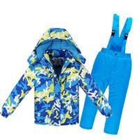 conjuntos térmicos para crianças venda por atacado-Camuflagem Crianças Casaco de Neve conjuntos de roupa de Esqui ao ar livre Menina / Menino de esqui snowboard roupas térmicas Jaqueta de inverno + bib pant -30