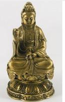 kwan heykeli toptan satış-Lotus Heykeli Üzerinde oturan Kwan Yin Kuan yin Bronz Heykelcik
