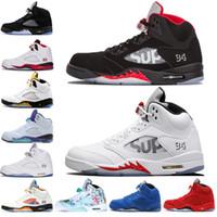 rojo candente al por mayor-Hot New 5 5s Wings International Flight Hombres Zapatos de baloncesto Red Blue Suede Blanco Negro Grape men sports sneakers designer ee.uu. 7-13