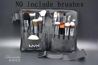 porte-ceinture en nylon achat en gros de-Noir Deux Arrays Maquillage Brush Holder Professionnel PVC Tablier Sac Artist Ceinture Bandoulière Portable Maquillage Sac Cosmétique Brosse