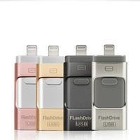 elma usb 5s toptan satış-IphoneU Disk için USB flash sürücü 3 in 1 Kalem Sürücü USB Flash Sürücü U Disk Memory Stick Apple iphone 5 5 S 6 6 s artı iPad OTG Pendrive U03