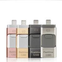 dedo flash usb venda por atacado-USB flash drive para iphoneU disco 3 em 1 pen drive usb flash drive u disco memory stick para apple iphone 5 5s 6 6 s plus ipad otg pendrive u03