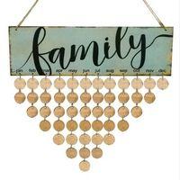 Wholesale vintage loose leaf paper resale online - 2018 Wood Family Birthday Reminder Calendar DIY Wall Hanging Special Date Planner Sign Board Decor Plaque Gift Material Escolar