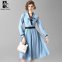ingrosso sopra il collare del vestito dall'abito-abito da donna primavera autunno sopra il ginocchio abito abito da ballo blu chiaro con cintura cintura colletto fiocco moda vintage dolce