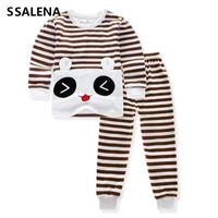 Wholesale pajama sets for girls - 2018 Girls Pajamas Boys Long Sleeve Sleepwear Children Cotton Pyjamas Kids Cartoon Striped Pajama Sets For 2-12Y D0003