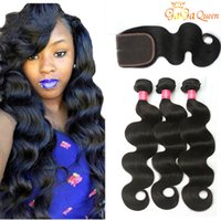 Wholesale hair weft - 8A Brazilian Virgin Hair With Closure Extensions Bundles Brazilian Body Wave Hair With x4 Lace Closure Unprocessed Remy Human Hair Weave