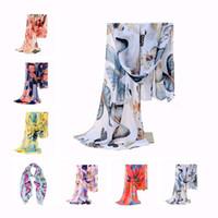 écharpe papillons achat en gros de-Meilleure Affaire 7 Couleurs Mode Femmes Lady Hiver Classique Papillon Imprimer Châles Écharpe Écharpes En Mousseline de Soie Doux Long Écharpe Taille 160 * 42 cm