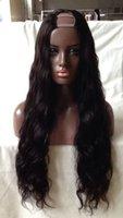pelucas parte de la virgen india u al por mayor-Pelo humano U parte pelucas onda suelta Virgen india sin procesar Remy cabello humano Upart peluca ondulada parte media para mujeres negras