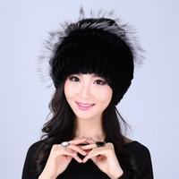 Wholesale women knit wool flower hat - Wholesale- YWMQFUR Winter women rex rabbit fur hat with fox fur flowers skullies knitted beanies good quality ladies real fur caps H06